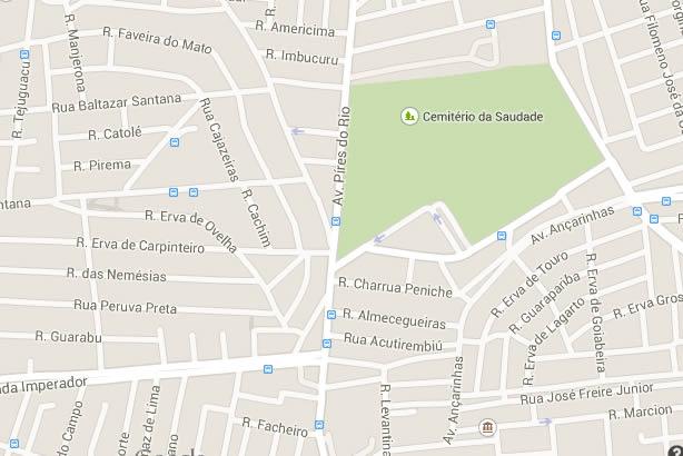 mapa cemiterio da saudade