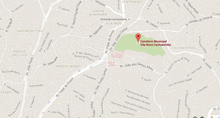 Mapa Cemitério Vila Nova Cachoeirinha